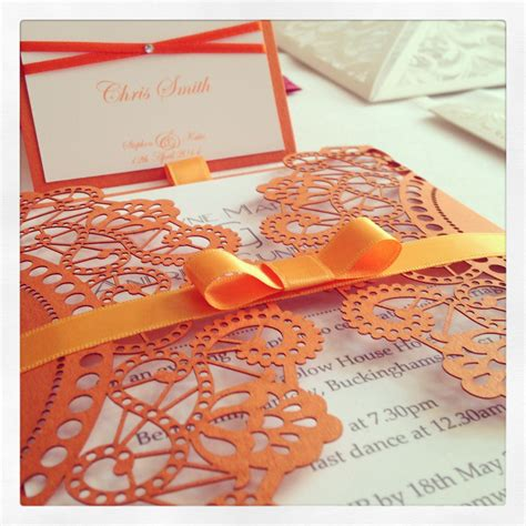 Unique Orange Wedding Invitations by Orange Laser Cut Wedding Invitation With Co Ordinating