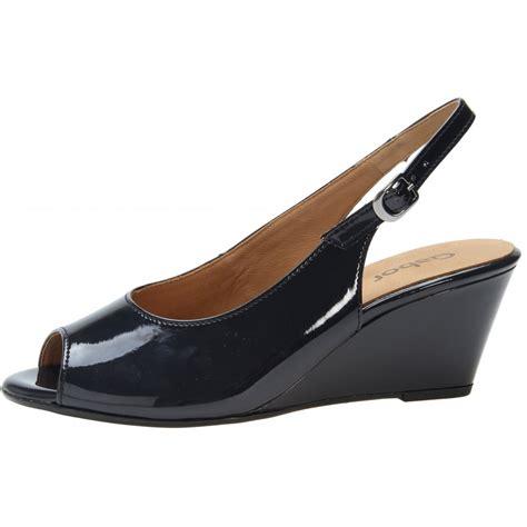 betti 85 512 96 navy patent wedge sling back shoe