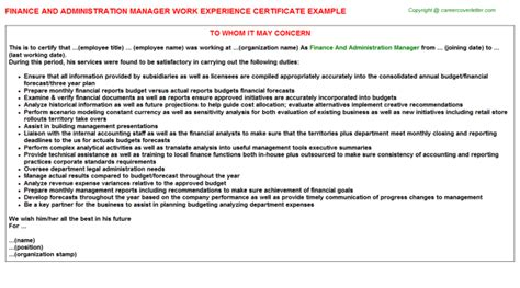 Finance Manager Experience Letter Sle Pwc Corporate Finance Llc Vp Work Experience Certificates