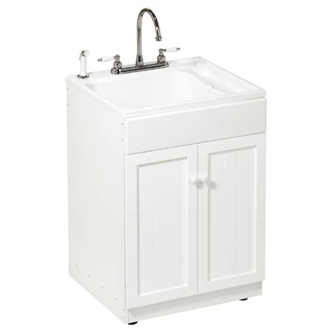white utility sink with cabinet shop asb all in one utility sink cabinet kit at lowes com