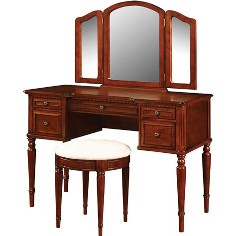 Powell Vanity Mirror And Bench by Powell Warm Cherry Vanity With Mirror And Bench 429 290