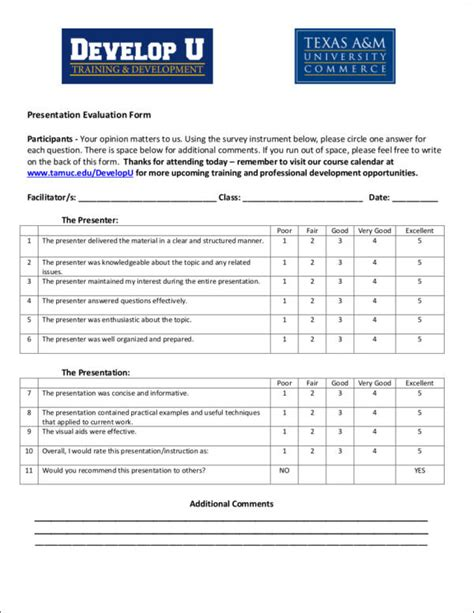 What Is Evaluation Sle Templates Presentation Evaluation Form Template
