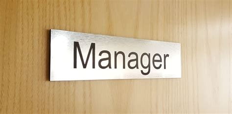brushed steel acrylic manager door sign office sign