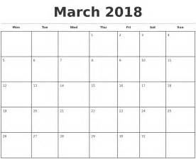 Monthly Calendar 2018 March 2018 Monthly Calendar Template