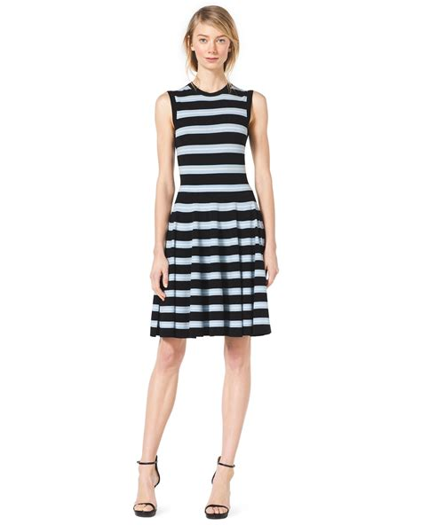 michael kors knit dress michael kors sleeveless striped knit dress in blue black