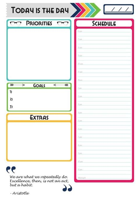 Made My Own Daily Planner Page Free Download For Anyone Who Would Like Organization Ideas Do It Yourself Will Template