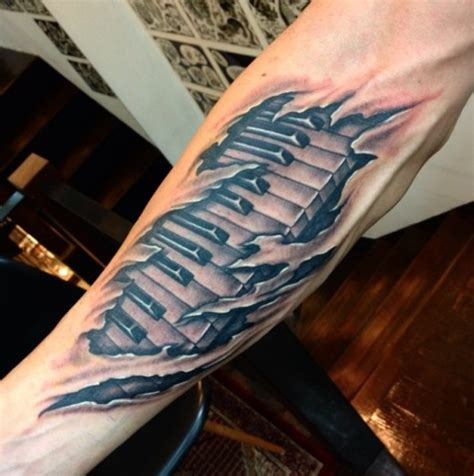 piano tattoo awesome 3d realistic piano for sleeve