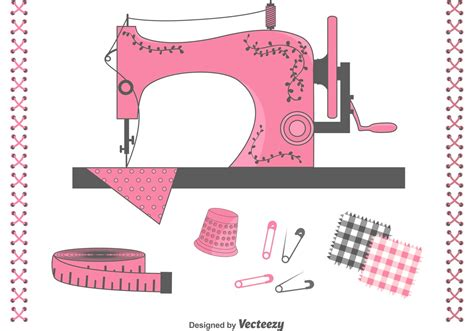 imagenes de love machine free vector sewing items set download free vector art