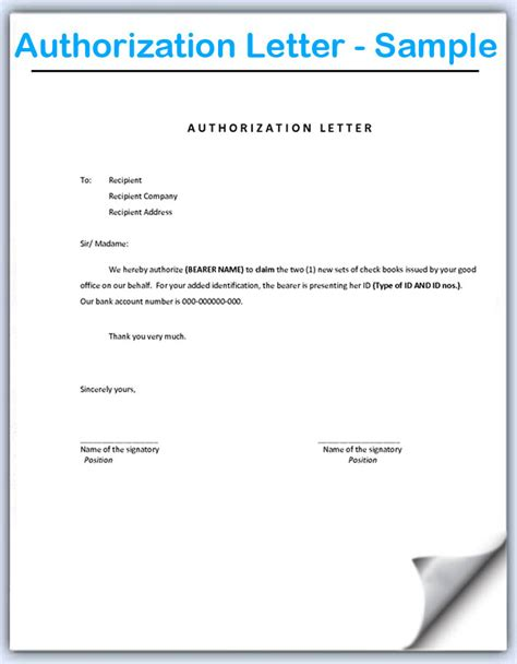 authorization letter to update bank book authorization letter sle format document blogs
