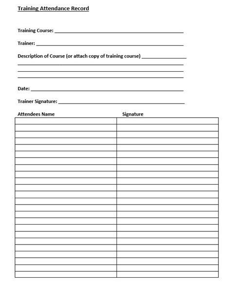 training attendance form template training attendance sheet ideas