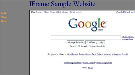 html layout using iframe develop the web site using iframe model