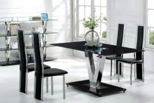 Black Modern Dining Room Sets Modern Dining Room Furniture Sets With Black Glass V Shape