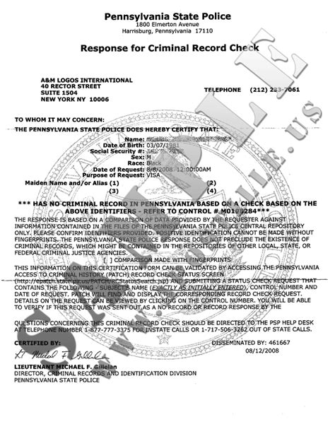 Response For Criminal Record Check Authentications Of Documents State Pennsylvania