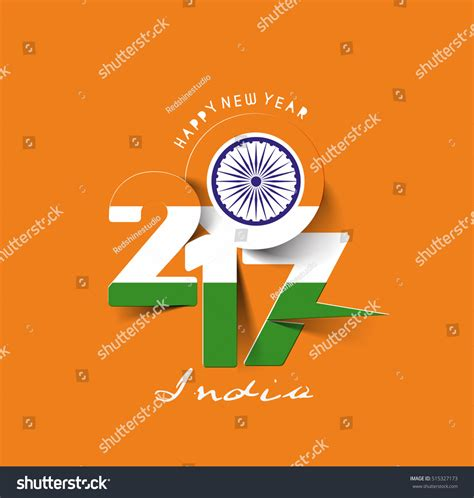 new year india happy new year 2017 india flag stock vector 515327173