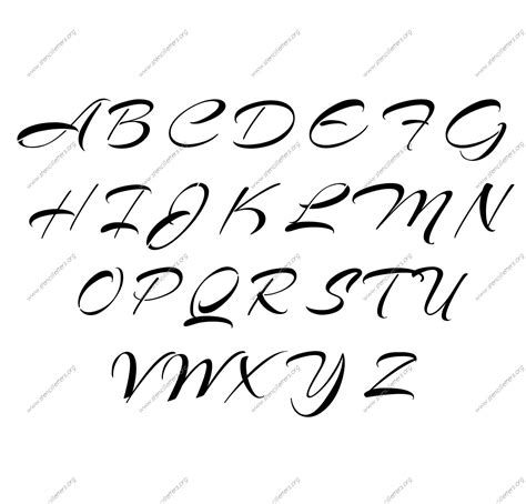 brushed cursive uppercase amp lowercase letter stencils a z