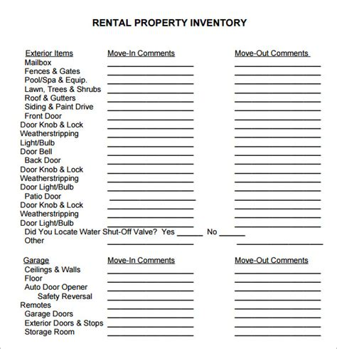 property inventory template free sle property inventory template 9 free documents