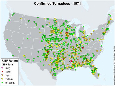 map of tornadoes today us tornadoes map1971 u s tornadoes