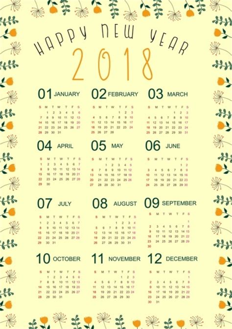 calendar design border 2018 calendar template natural flowers border decor free