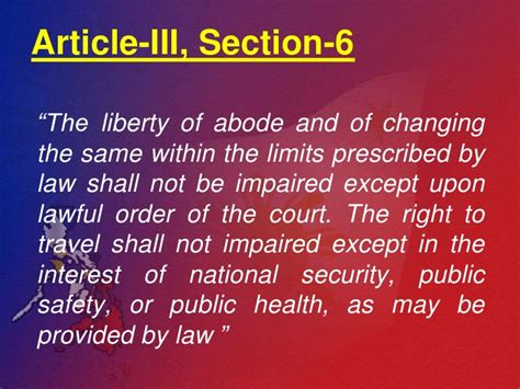 Bill Of Rights Article Iii Section 3 To 6