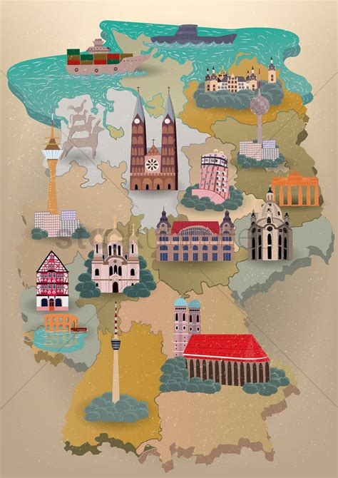 map of with landmarks germany map with landmarks vector image 1614518