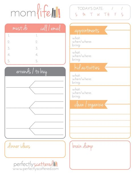 Free Printable Mom Planner Pages | free printable daily planner for moms free printable