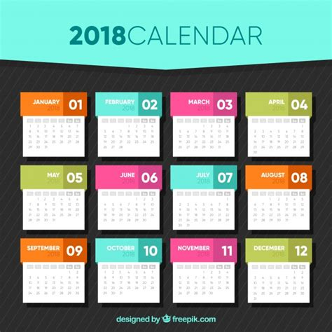 2018 calendar template in flat design vector free download