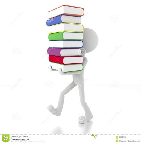 of the person books 3d person holding many books stock illustration image