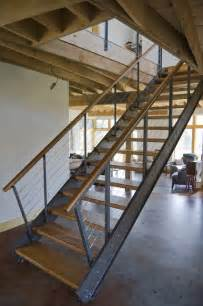 Industrial Stairs Design Steel And Cherry Stair Industrial Staircase Burlington By Bluetime Collaborative
