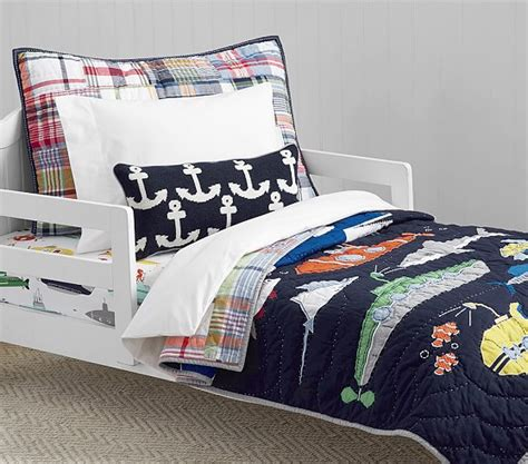 toddler bed quilt submarine quilted toddler bedding pottery barn kids