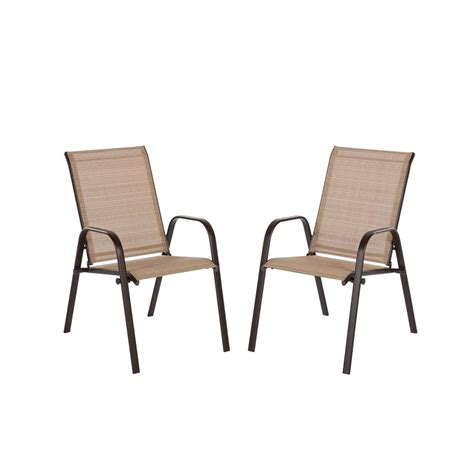 stackable outdoor dining chairs hton bay mix and match brown stackable sling outdoor