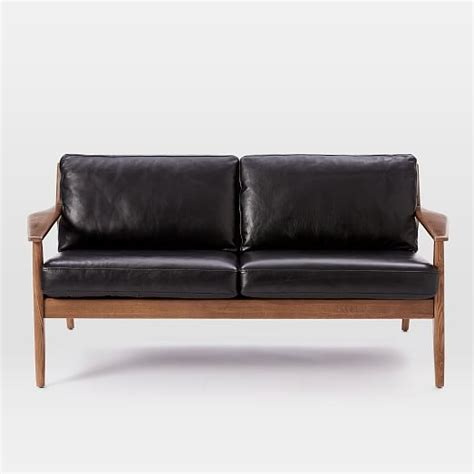 leather sofa with wooden frame mathias mid century wood frame leather sofa west elm