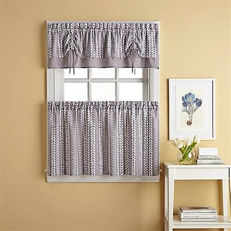 bloom window curtain tier pair in grey bed bath beyond