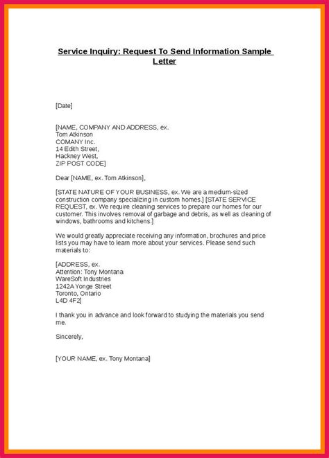 inquiry letter template request for information sle sop exles