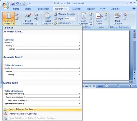 Microsoft Word Insert Table Of Contents by Ms Word 2007 Create A Table Of Contents