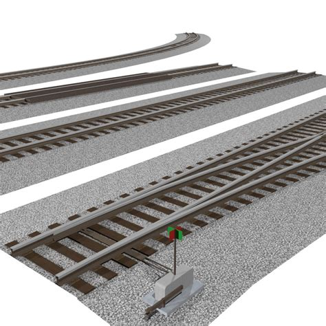 train track section 3d pack interchangeable track pieces
