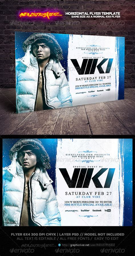 Winter Party Flyer Template Horizontal Graphicriver Horizontal Flyer Template