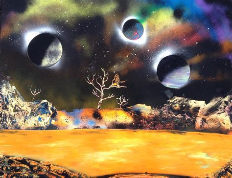 spray paint planet 22 x 28 spray paint four planets lake bird tree