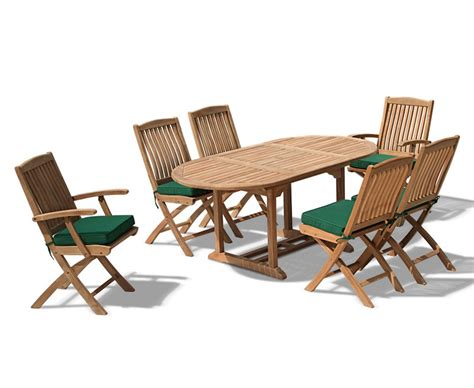 Bijou Outdoor Extending Garden Table And Folding Chairs Extending Patio Table