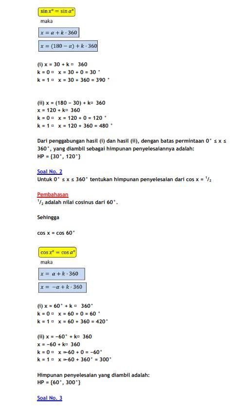Rumus Matematika Sma rumus persamaan trigonometri dan contoh soal belajar matematika