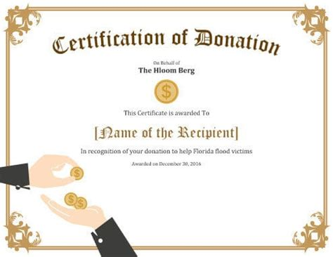donation gift certificate template 7 printable donation certificates templates