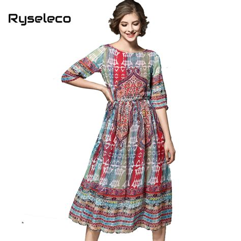 ryseleco 2017 summer chiffon dresses european fashion vintage floral prints swing