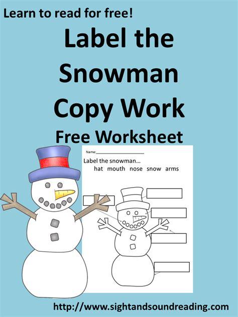 Label Snowman free kindergarten worksheet label the snowman