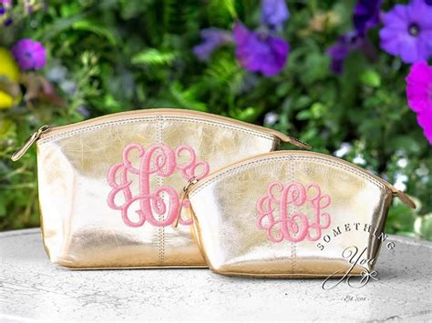 set   metallic gold monogrammed leather cosmetic bags