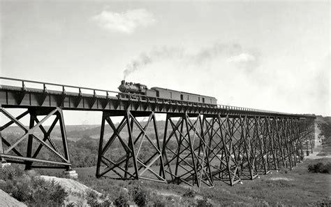 Train, Steam Locomotive, Bridge, Monochrome, Grayscale