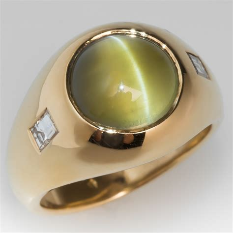 vintage mens cats eye chrysoberyl ring  gold