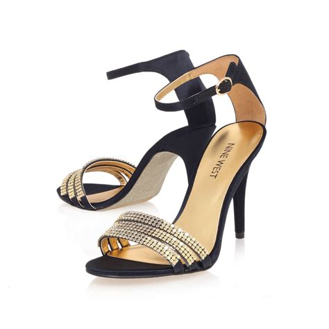 high heel sandals gold nine west sabrinna high heel sandals in gold black lyst