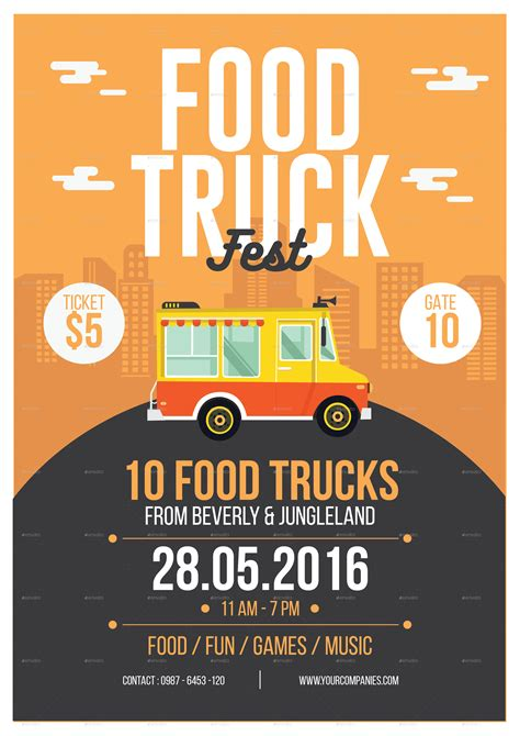 Food Truck Flyer By Tokosatsu Graphicriver Food Truck Powerpoint Templates