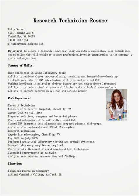 research technician resume 28 images science and