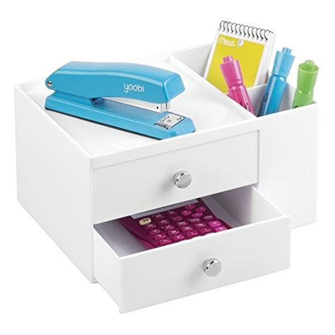two drawer desk organizer mdesign office supplies desk organizer for staplers