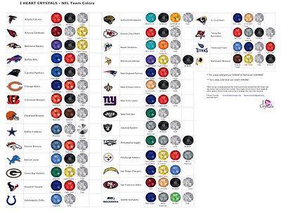nfl team colors chart nfl football team colors in swarovski flatback crystals ebay